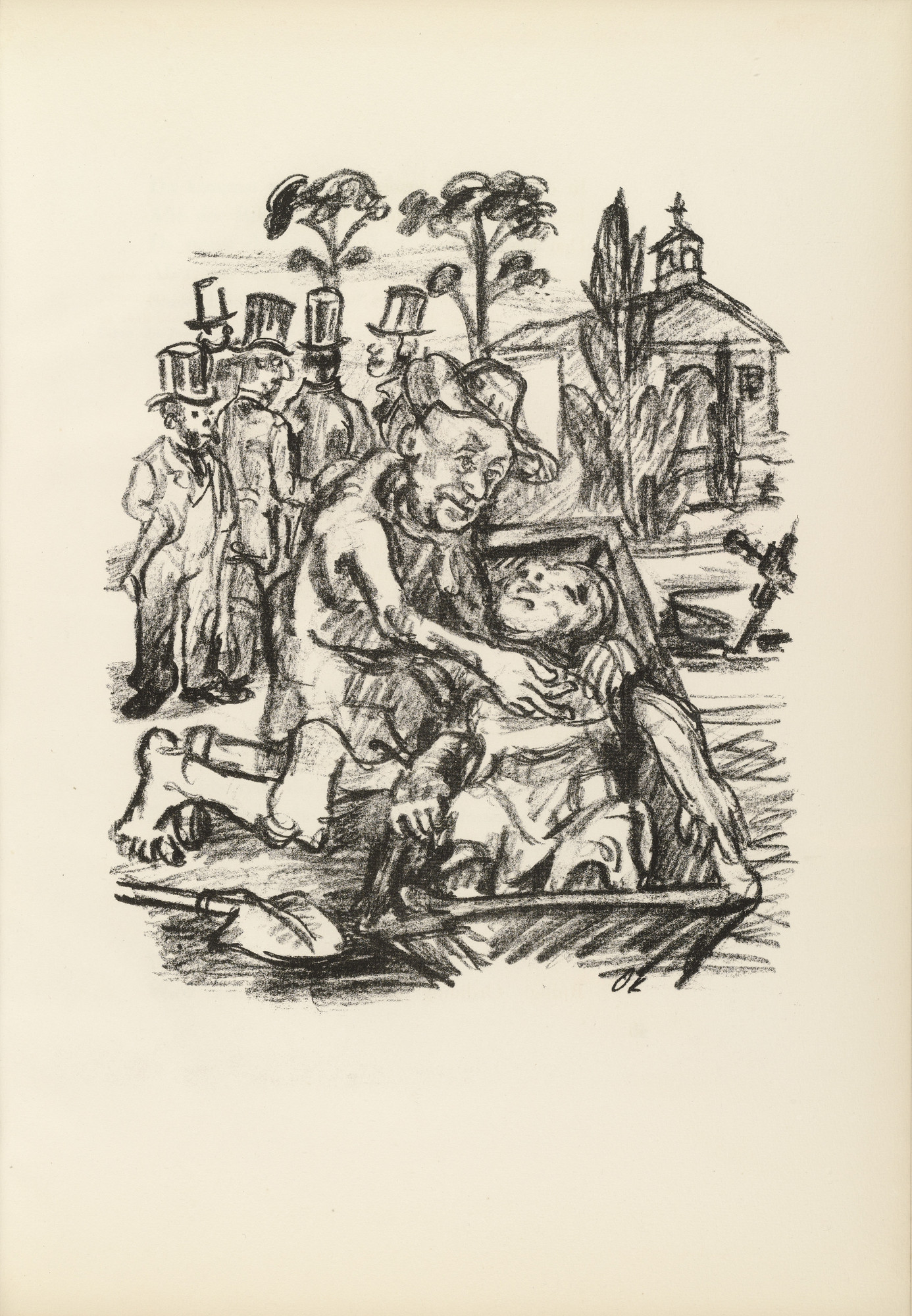 Oskar Kokoschka. The Gentlemen in Mourning Dress (Die Herren in Trauerkleidung) (plate, page 49) from Hiob (Job). 1917 (executed 1916/17)