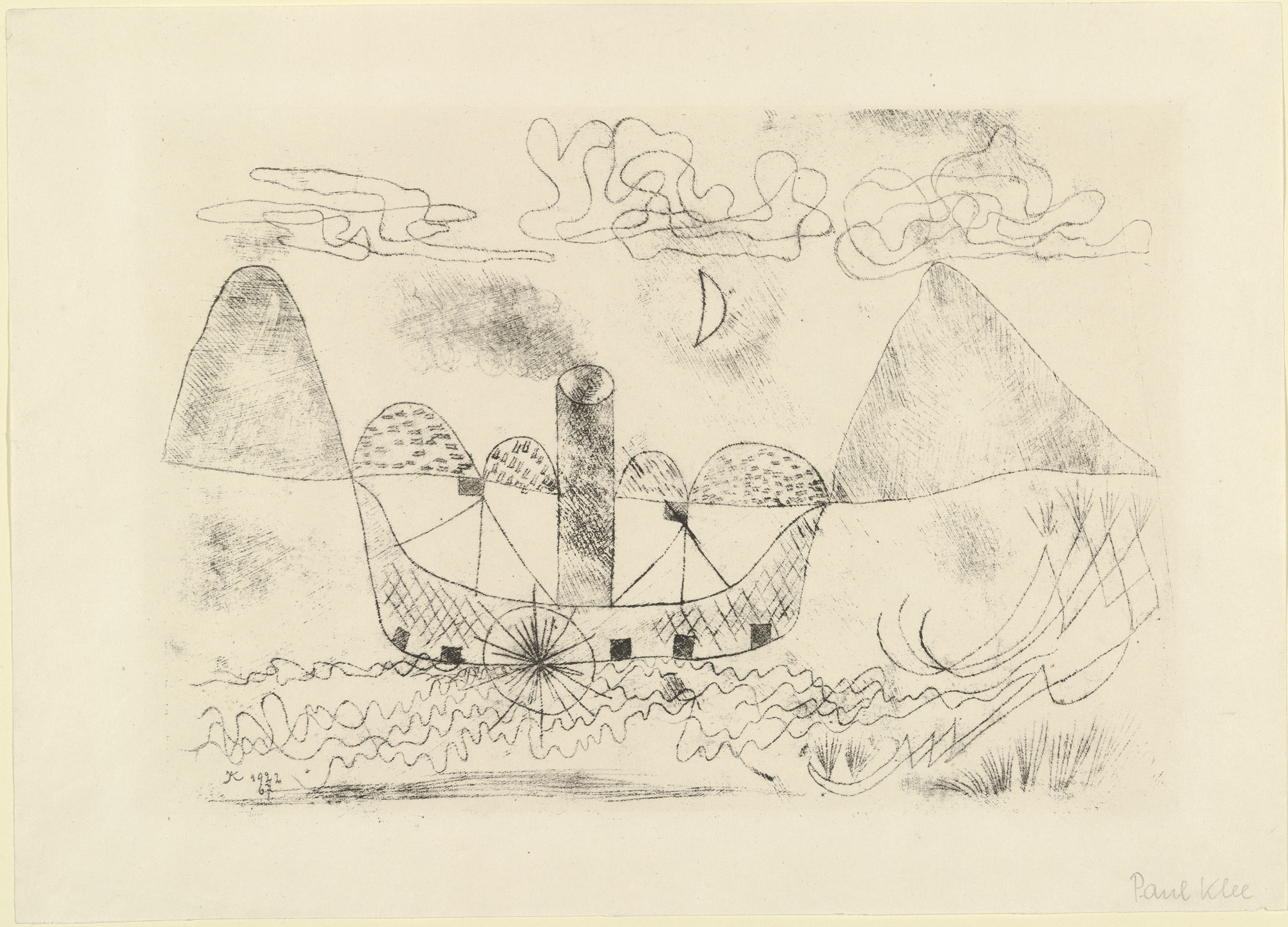 Paul Klee. Steamer at Lugano (Dampfer vor Lugano). 1922