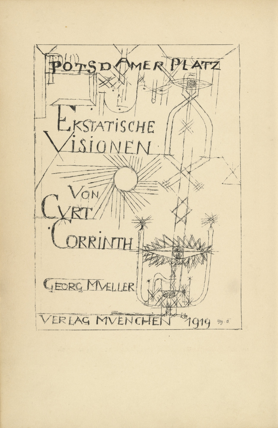 Paul Klee. Frontispiece (page 2) from Potsdamer Platz oder Die Nächte des neuen Messias. Ekstatische Visionen (Potsdamer Platz or The Nights of the New Messiah. Ecstatic Visions). 1919
