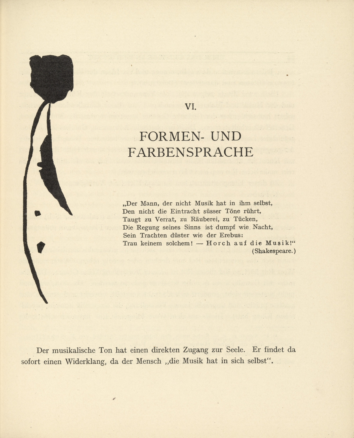 "Vasily Kandinsky. Vignette next to ""The Language of Form and Color"" (""Formen- und Farbensprache"") (headpiece, page 43) from Über das Geistige in der Kunst (Concerning the Spiritual in Art). 1911"