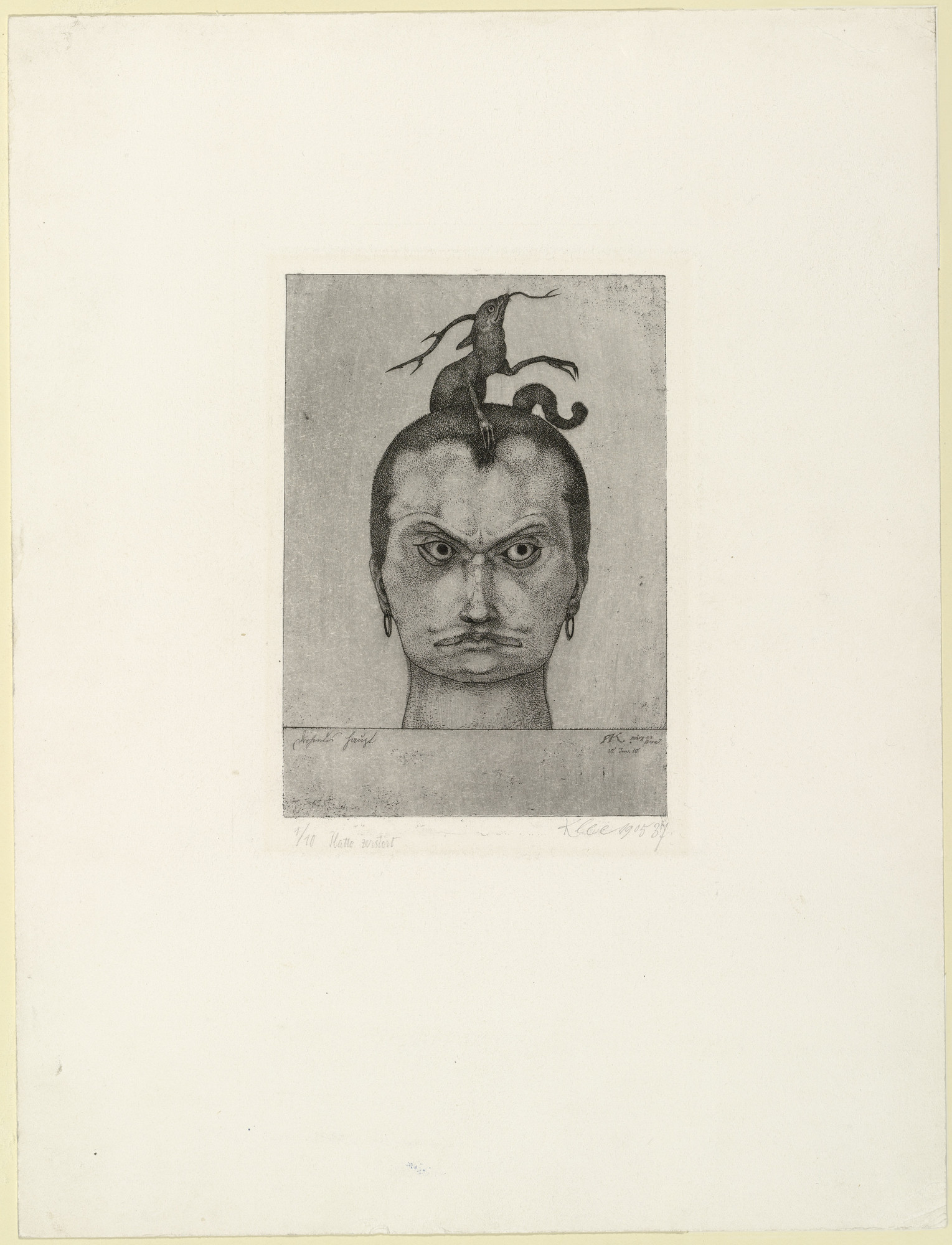 Paul Klee. Menacing Head (Drohendes Haupt) from the series Inventions (Inventionen). 1905