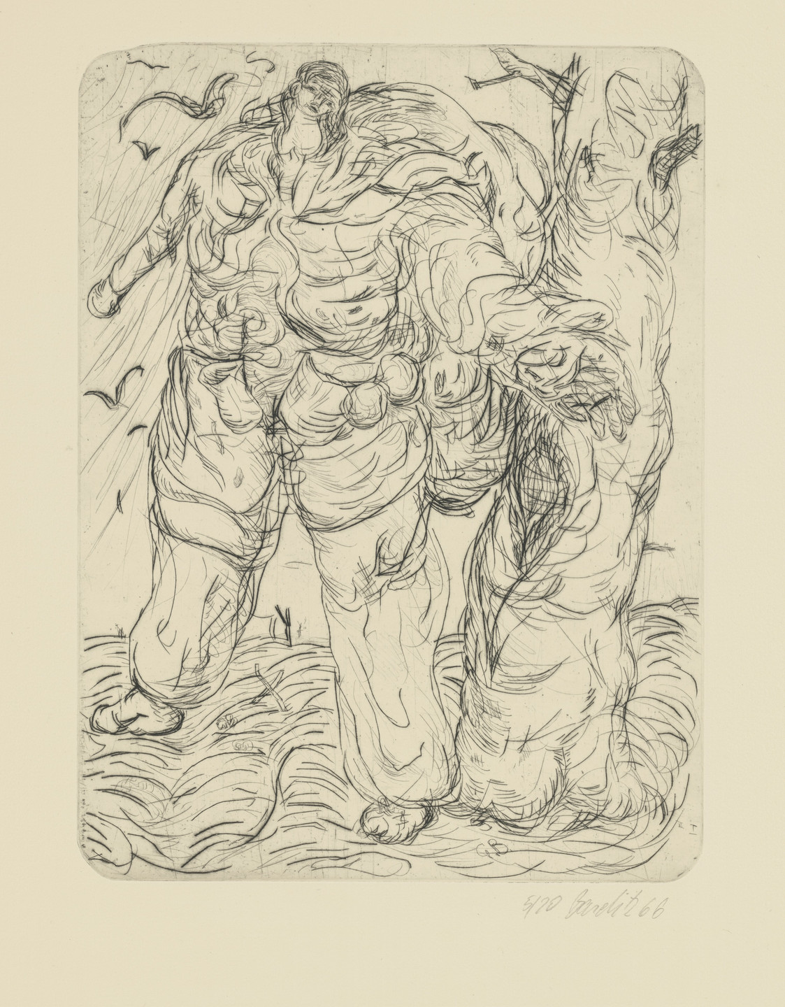 Georg Baselitz. Type / Green One at the Tree (Typ / Grüner am Baum). 1965–66, published 1974