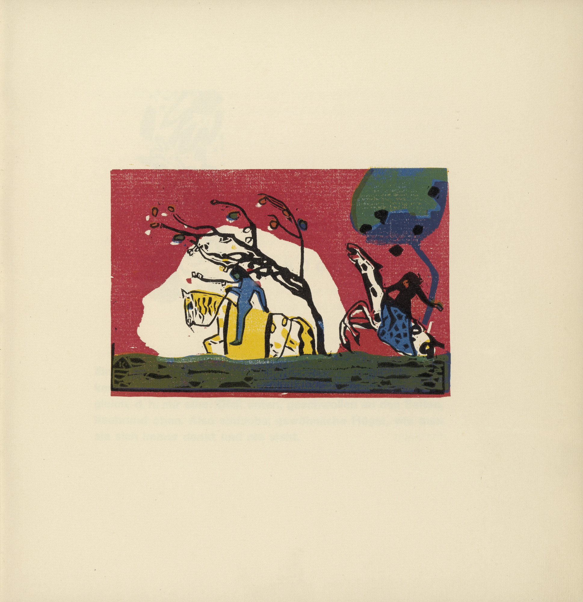 Vasily Kandinsky. Two Riders Before Red (Zwei Reiter vor Rot) (plate, folio 4) from Klänge (Sounds). (1913)