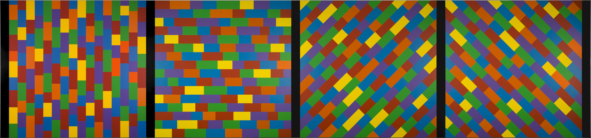 Sol LeWitt. Wall Drawing #1144, Broken Bands of Color in Four Directions. 2004
