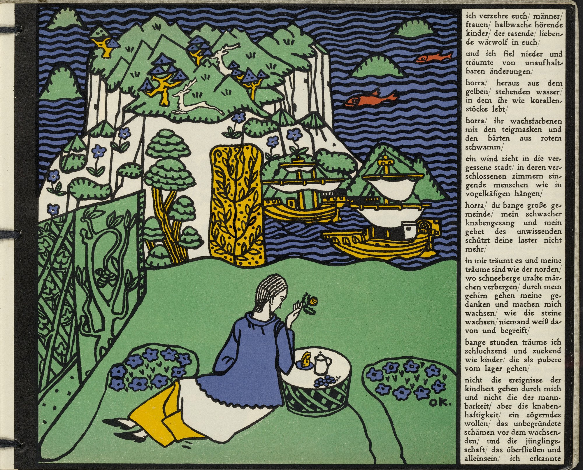 Oskar Kokoschka. _The Distant Island (Die ferne Insel) _ (in-text plate, folio 6) from Die träumenden Knaben (The Dreaming Boys). 1917 (executed 1907-08)