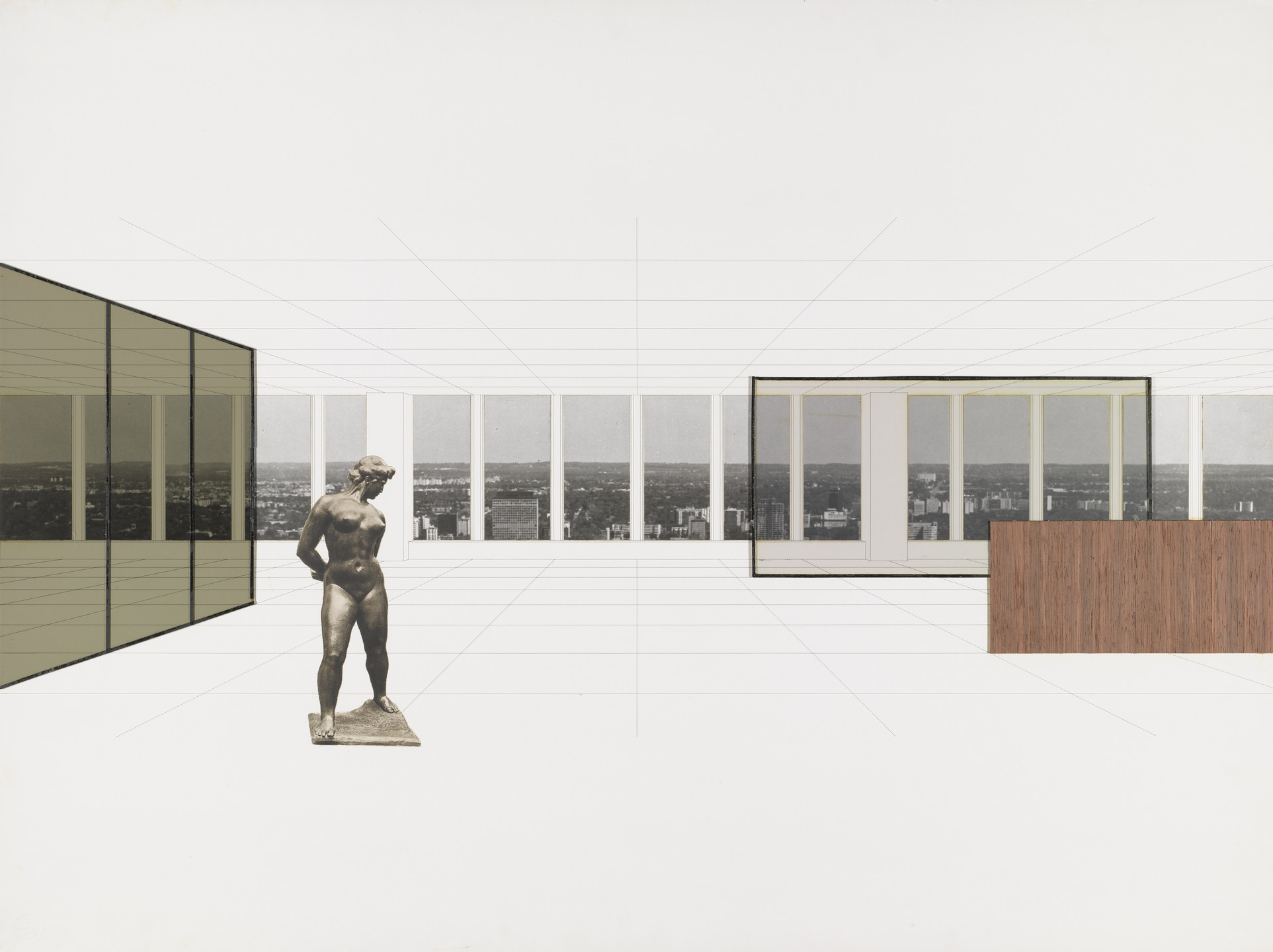 Ludwig Mies van der Rohe. Georg Schaefer Museum Project, Schweinfurt, Germany (Interior perspective with view of site). 1960–1963