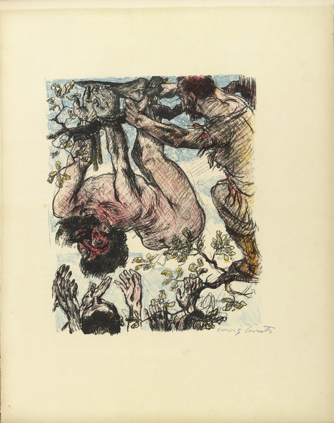 Lovis Corinth. Achior Hanged from a Tree (Achior am Baume hängend) (plate, folio 14) from Das Buch Judith (The Book of Judith). 1910