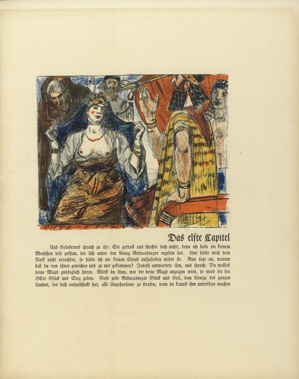 Lovis Corinth. Judith before Holofernes (Judith vor Holofernes) (in-text plate, folio 21) from Das Buch Judith (The Book of Judith). 1910