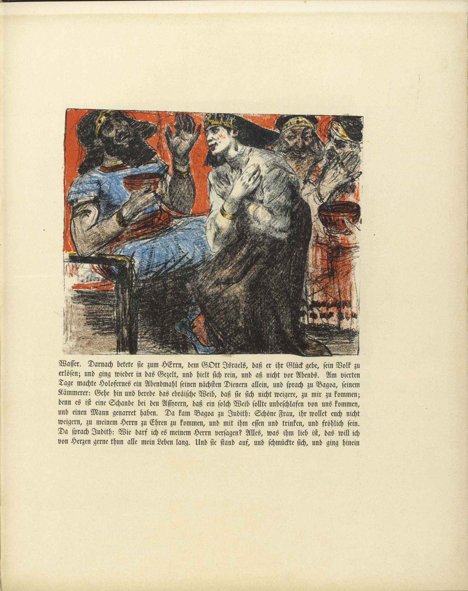 Lovis Corinth. Judith in the Tent of Holofernes (Judith im Zelte des Holofernes) (in-text plate, folio 23) from Das Buch Judith (The Book of Judith). 1910