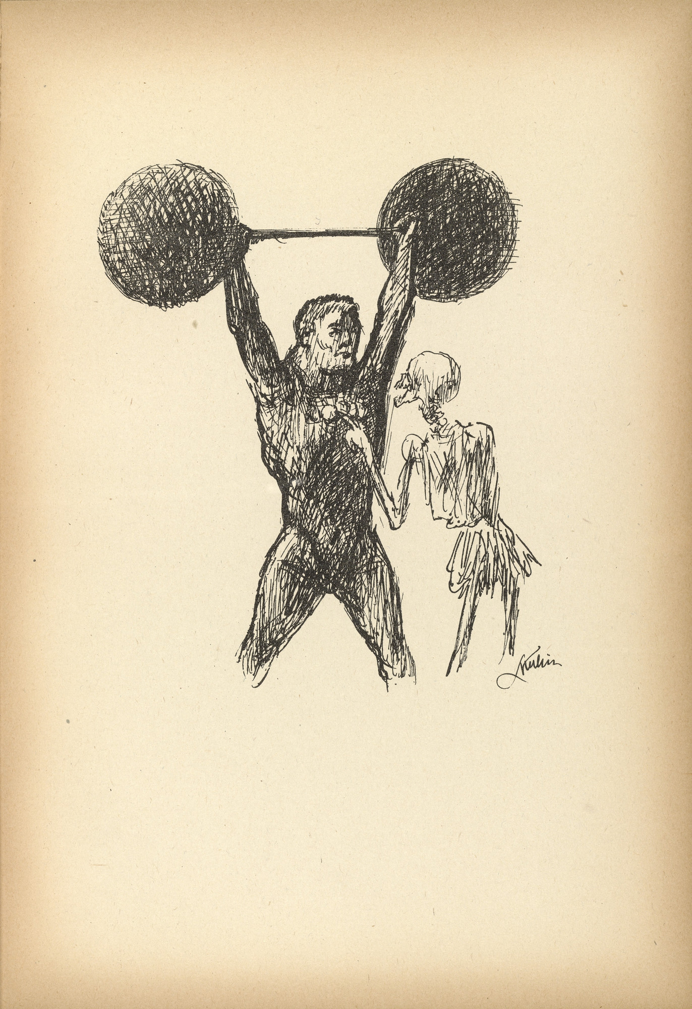 Alfred Kubin. Athlete (Athlet) from Ein neuer Totentanz (A New Dance of Death). 1947 (reproduced drawing executed 1938)