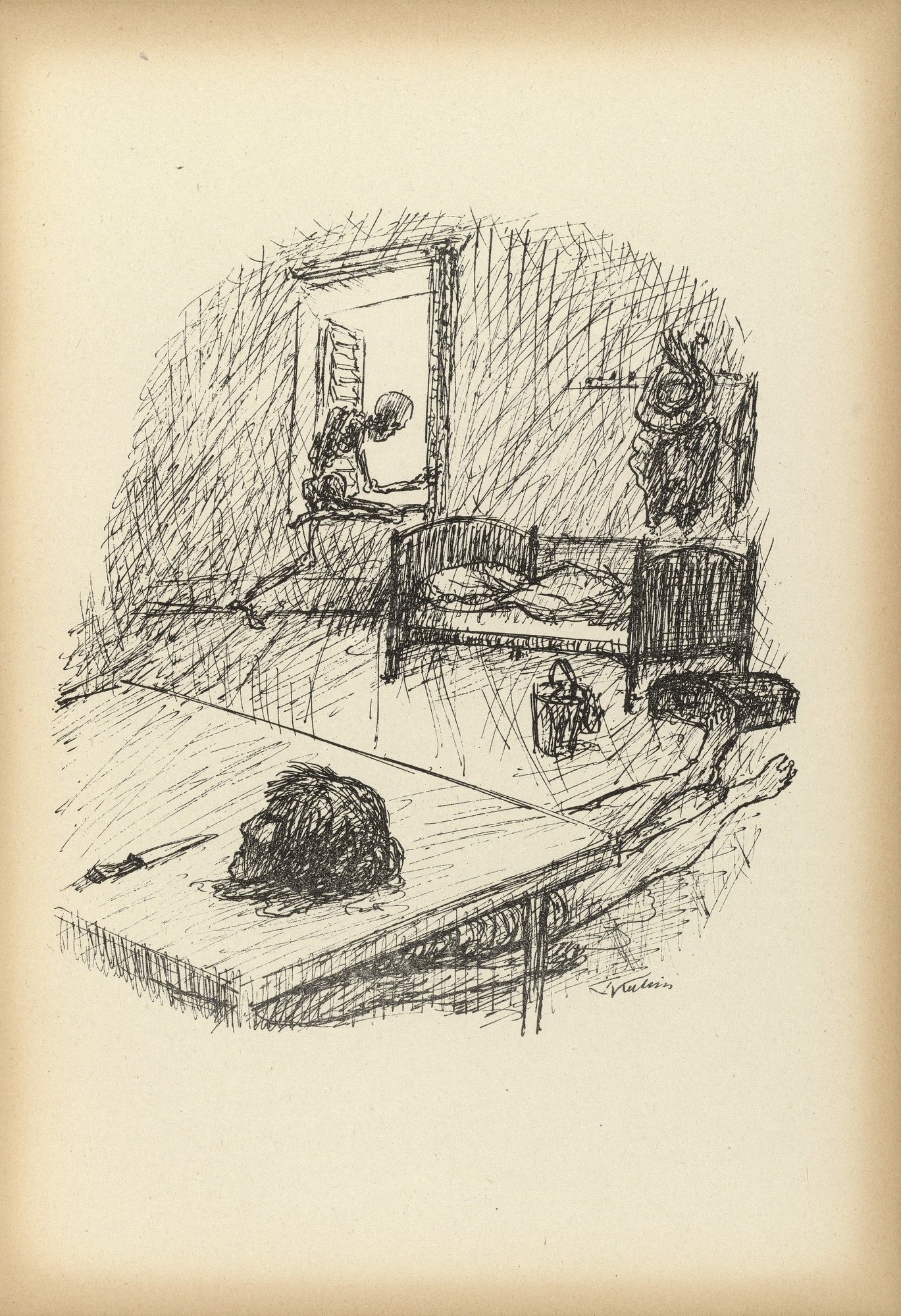 Alfred Kubin. Blue Beard's Room (Blaubarts Zimmer) from Ein neuer Totentanz (A New Dance of Death). 1947 (reproduced drawing executed 1938)