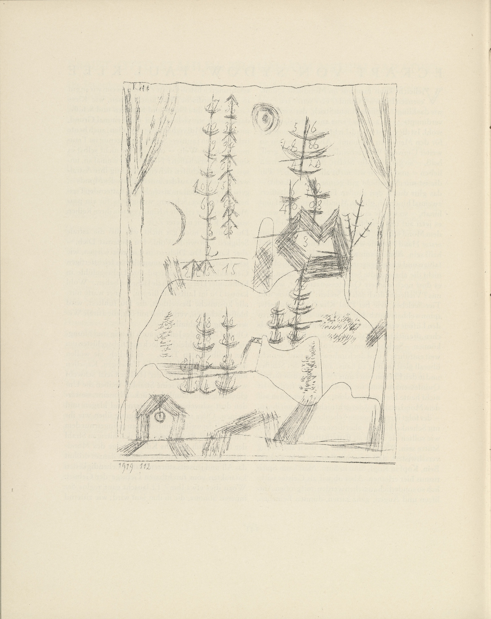 Paul Klee. Forest (Wald) (plate, page 142) from the periodical Münchner Blätter für Dichtung und Graphik, vol. 1, no. 9 (September 1919). 1919
