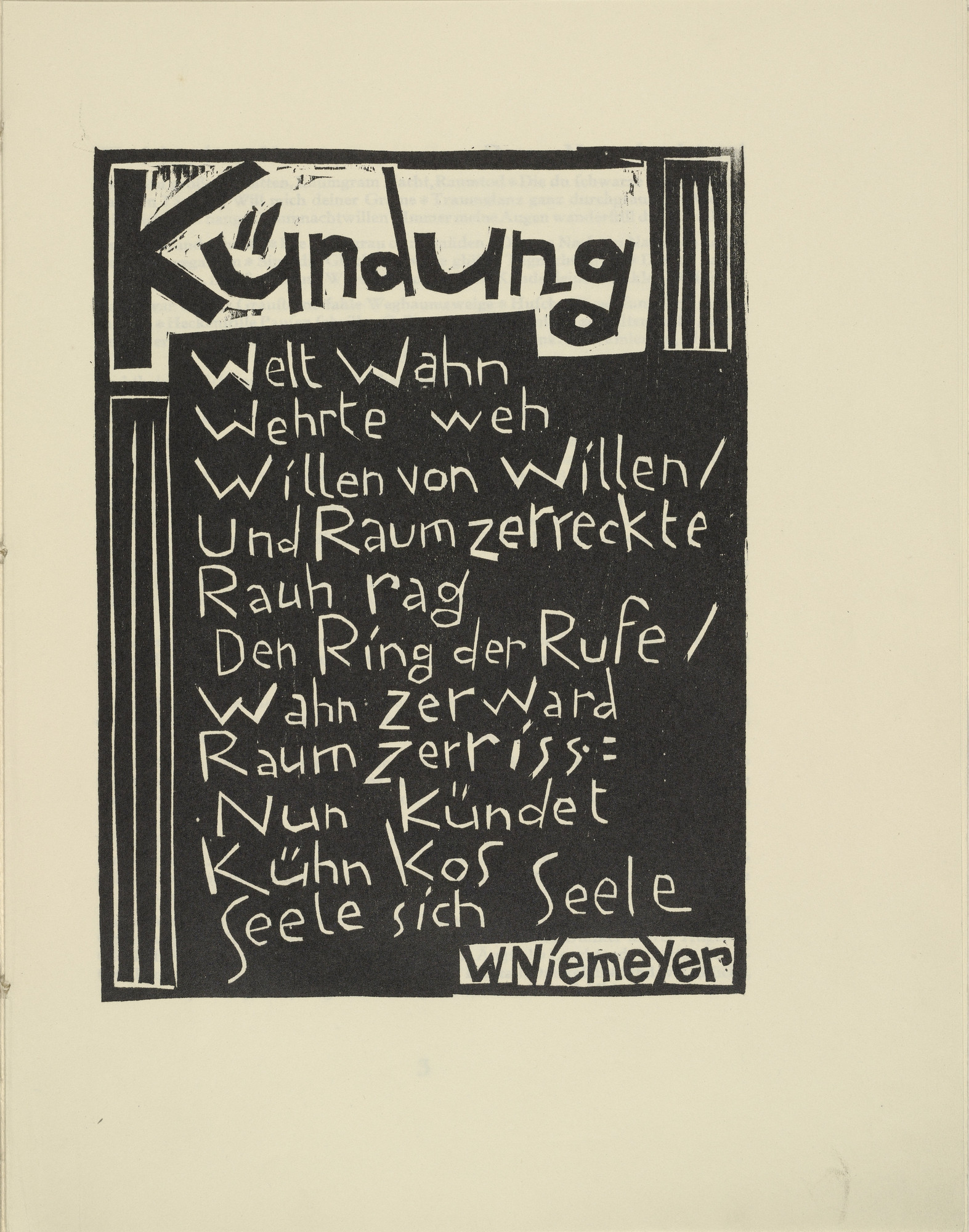 Karl Schmidt-Rottluff. Proclamation (Kündung) from the periodical Kündung, vol. 1, no. 1 (January 1921). 1921 (executed 1920)