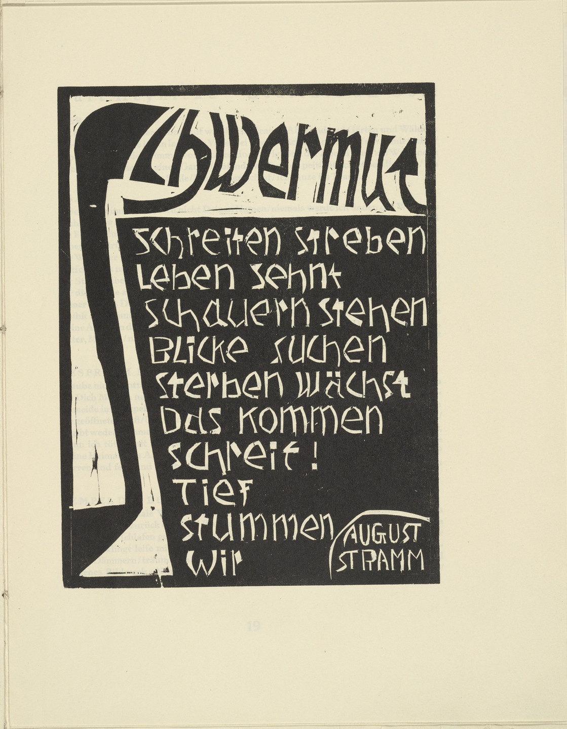 Karl Opfermann. Melancholia (Schwermut) from the periodical Kündung, vol. 1, no. 2 (February 1921). 1921 (executed 1920)