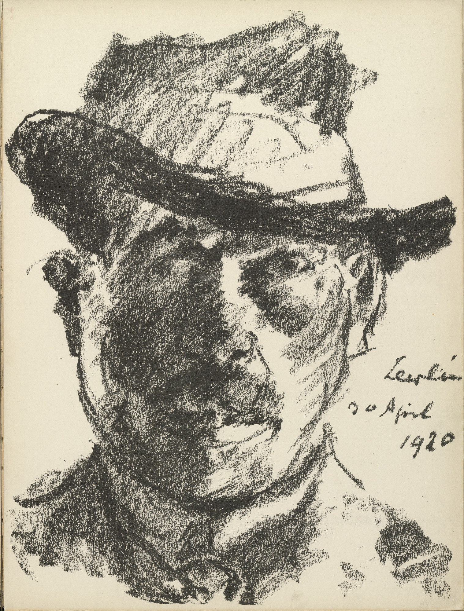 Lovis Corinth. Self-Portrait (Selbstbildnis) (plate 1) from the illustrated book Deutsche Graphiker der Gegenwart (German Printmakers of Our Time). 1920