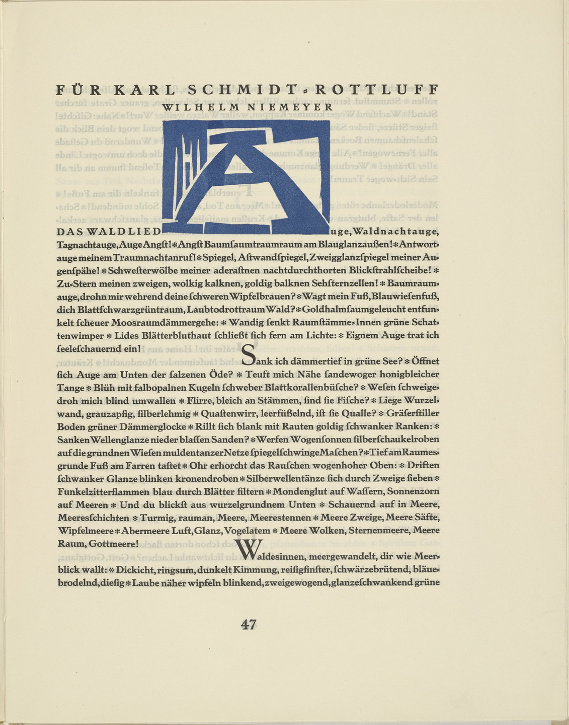 Karl Schmidt-Rottluff. Ornamental initial 'A' from the periodical Kündung, vol. 1, no. 4, 5, 6 (April, May, June 1921),. 1921 (executed 1920)