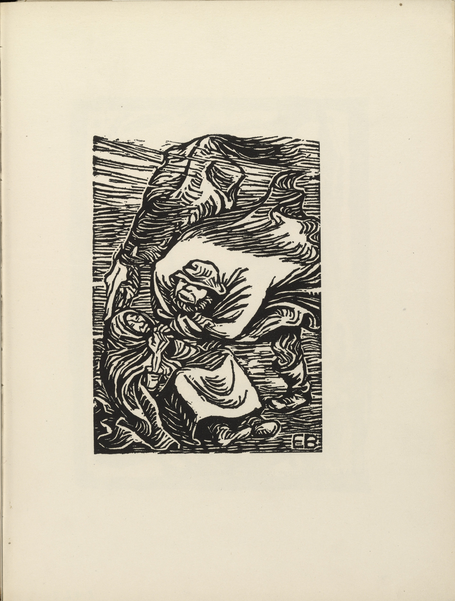 Ernst Barlach. Group in a Storm (Gruppe im Sturm)(plate 14) from the illustrated book Deutsche Graphiker der Gegenwart (German Printmakers of Our Time). 1920 (print executed 1919)