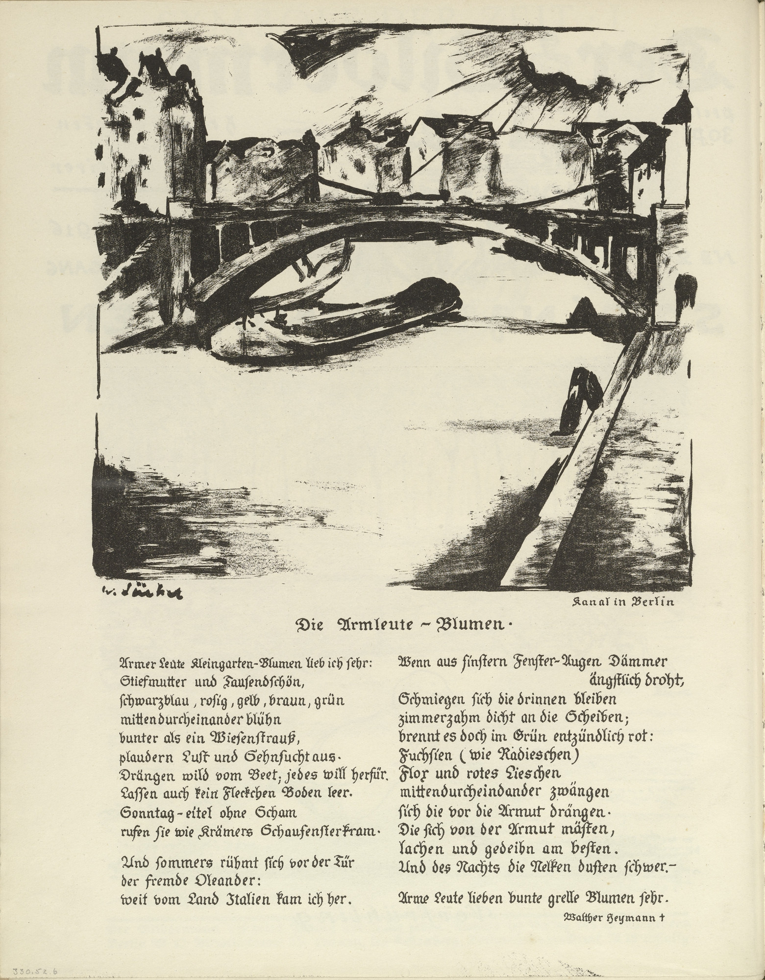Willy Jaeckel. Canal in Berlin (Kanal in Berlin) (plate, folio 4 verso) from the periodical Der Bildermann, vol. 1, no. 2 (April 1916). 1916