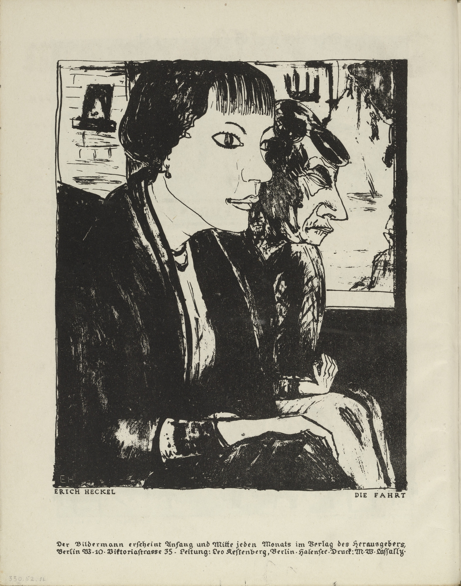 Erich Heckel. The Ride (Die Fahrt) (plate, folio 7 verso) from the periodical Der Bildermann, vol. 1, no. 3 (May 1916). 1916