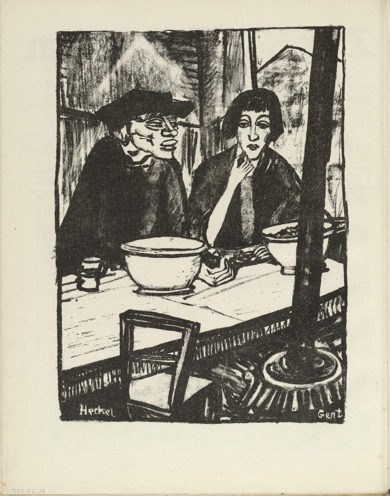 Erich Heckel. Ghent (Gent) (plate, folio 8 verso) from the periodical Der Bildermann, vol. 1, no. 4 (May 1916). 1916