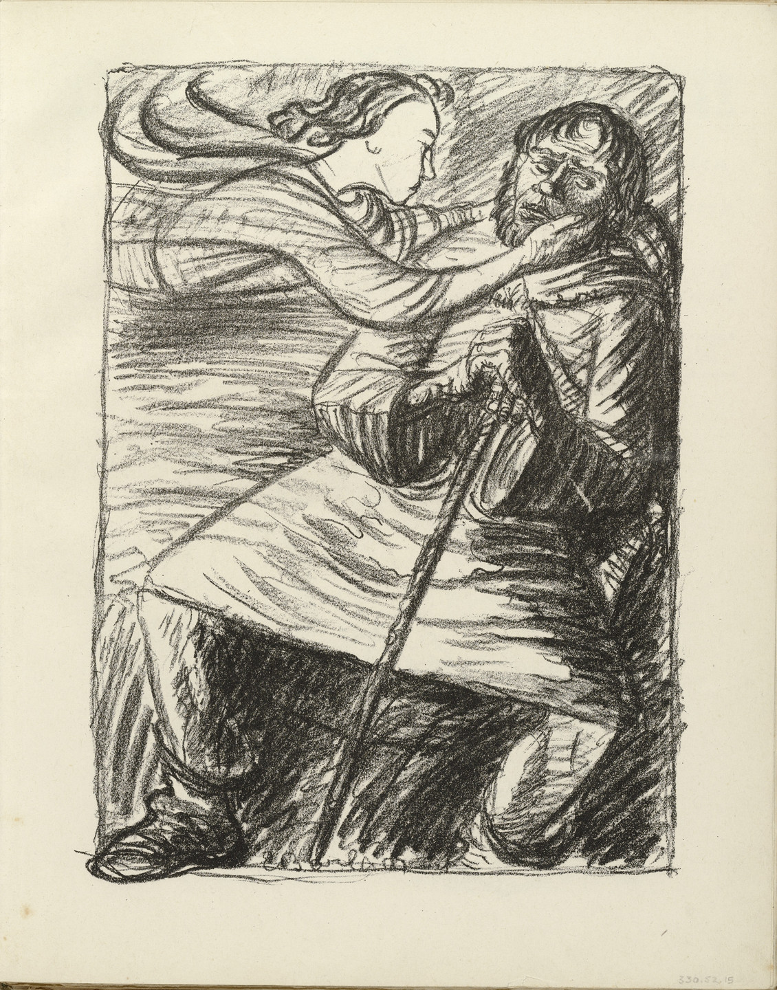 Ernst Barlach. The Weary One (Der Müde) (plate, folio 9) from the periodical Der Bildermann, vol. 1, no. 4 (May 1916). 1916