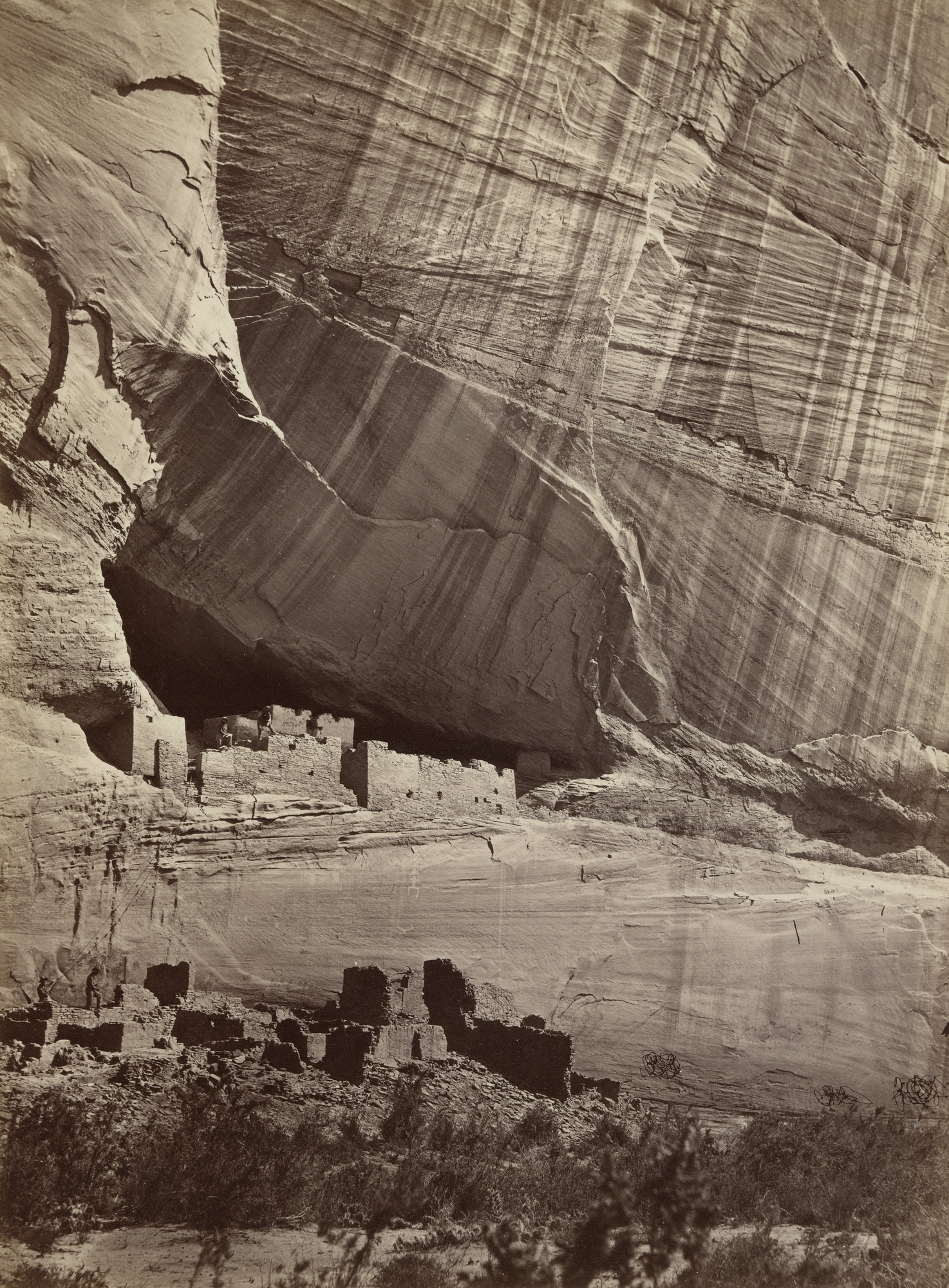Timothy O'Sullivan. Ancient Ruins in the Cañon de Chelle, New Mexico. In a Niche Fifty Feet Above Present Cañon Bed. 1873
