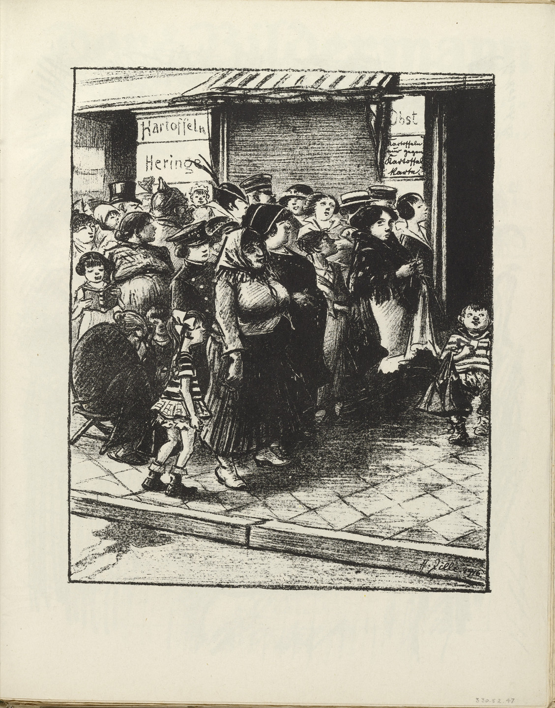 Heinrich Zille. Standing in Line for Potatoes (Kartoffelstehen) (plate, folio 25) from the periodical Der Bildermann, vol. 1, no. 12 (September 1916). 1916