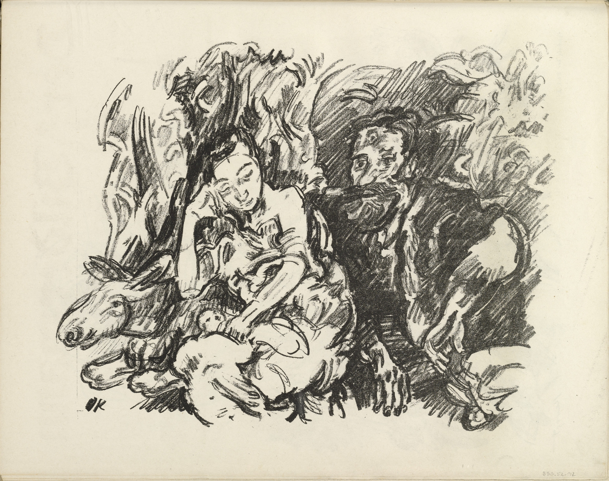 Oskar Kokoschka. The Holy Family. Rest on the Flight to Egypt (Die Heilige Familie. Rast auf der Flucht nach Ägypten) (plate, folio 37 verso) from the periodical Der Bildermann, vol. 1, no. 18 (Dec 1916). 1916