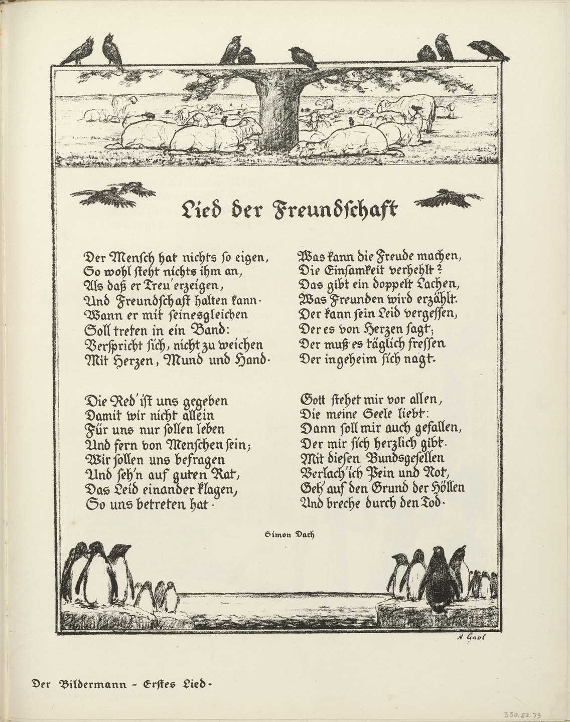 "August Gaul. Untitled, illustration to Simon Dach's poem ""Song of Friendship"" (Lied der Freundschaft) (border, 1st song, folio 39) from the periodical Der Bildermann, supplement to vol. 1, no. 1 (Apr 1916)_ _. 1916"