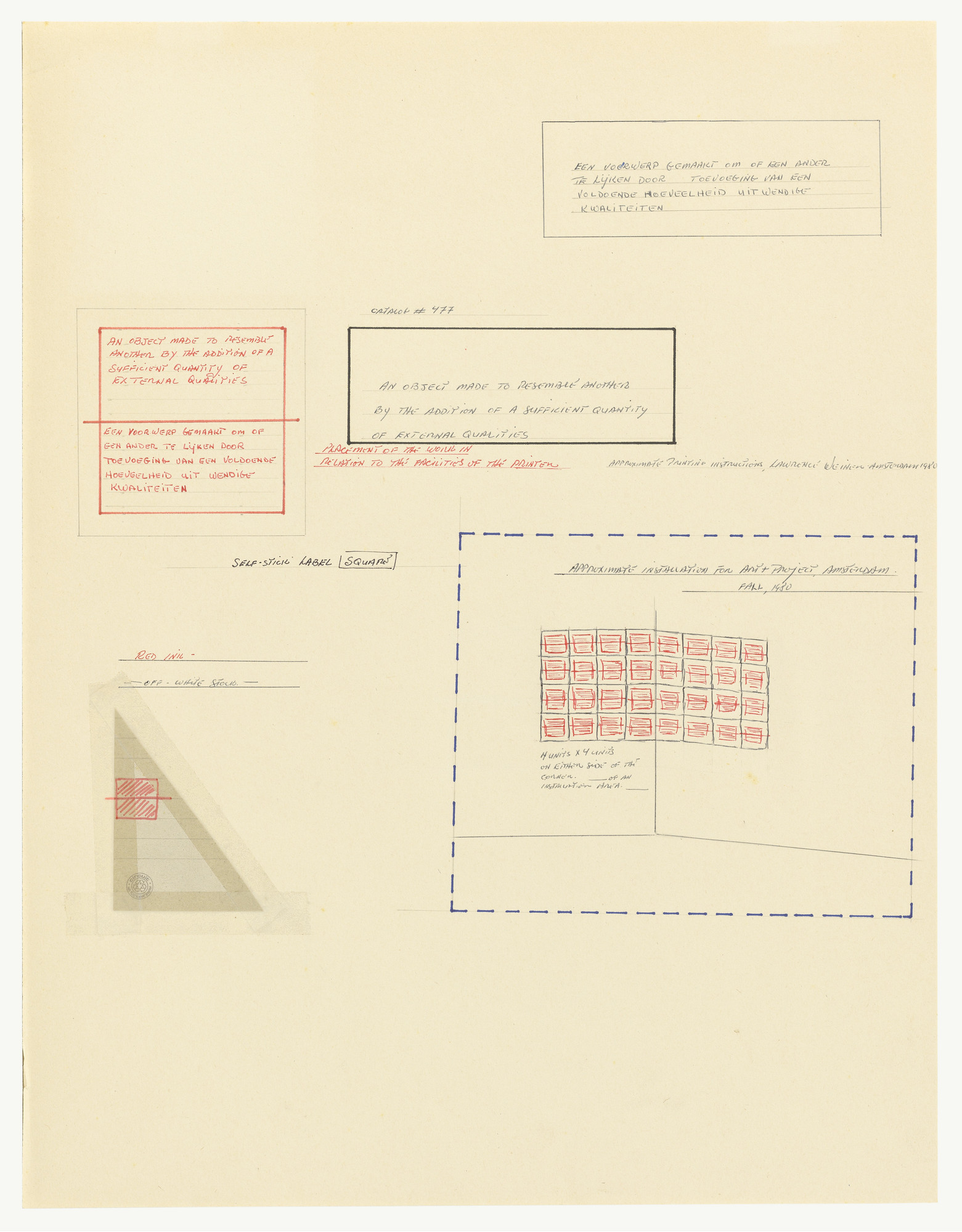Lawrence Weiner. Untitled. 1980
