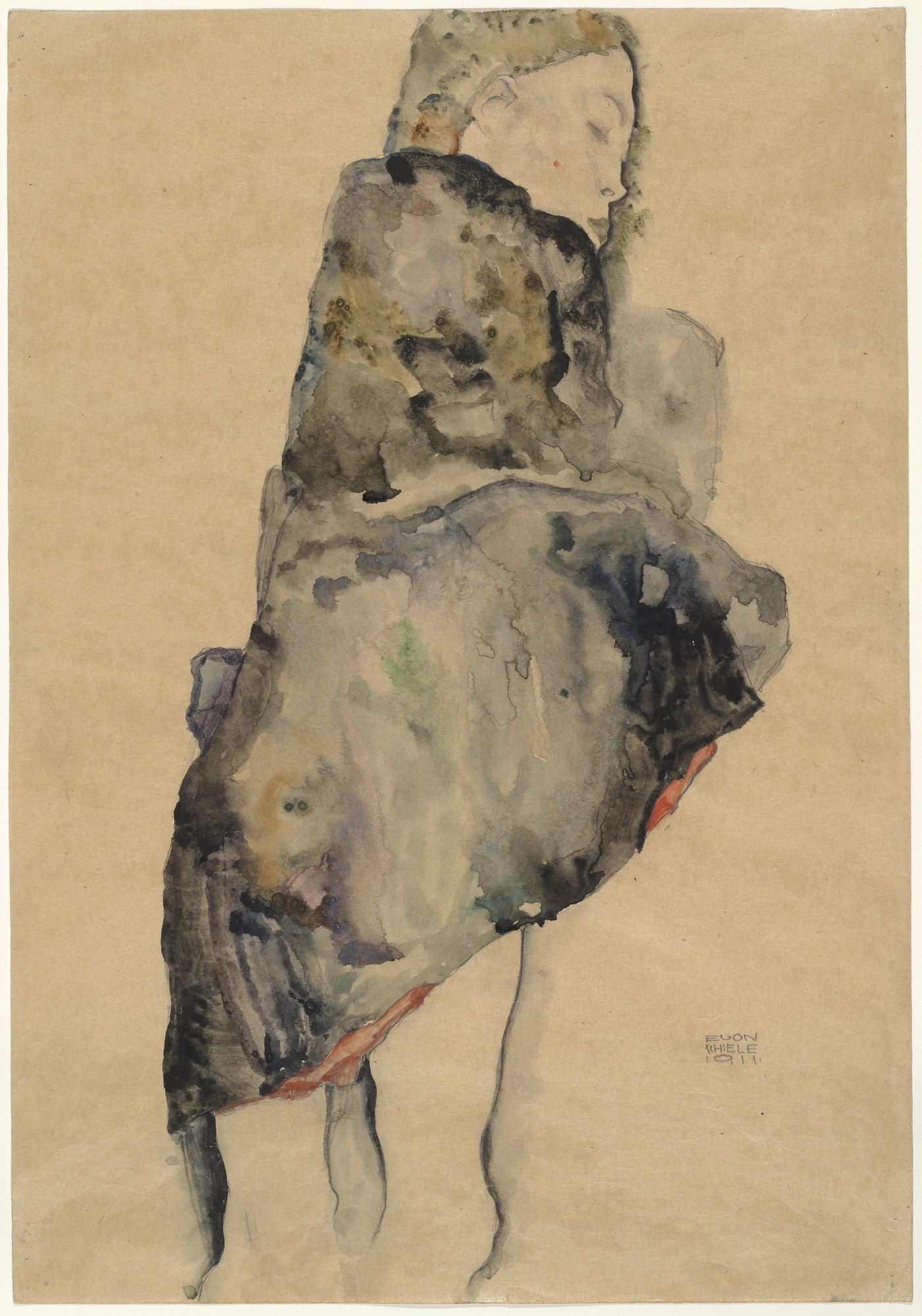 Egon Schiele. Standing Girl Wrapped in Blanket. 1911