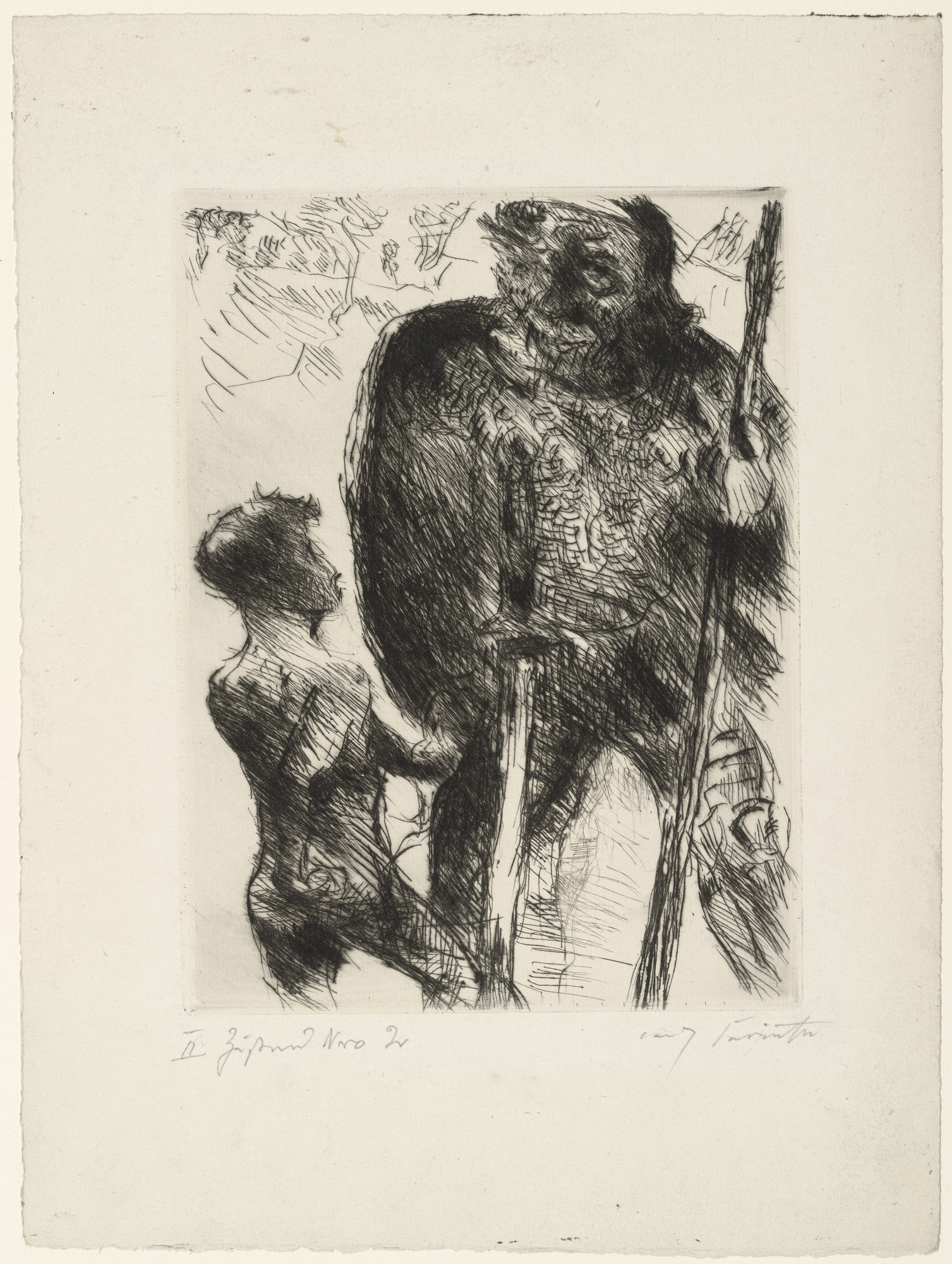 Lovis Corinth. David and Goliath (David und Goliath) for the illustrated book Saul and David. The Two Books Samuel (Saul und David. Die beiden Bücher Samuelis). (1923)