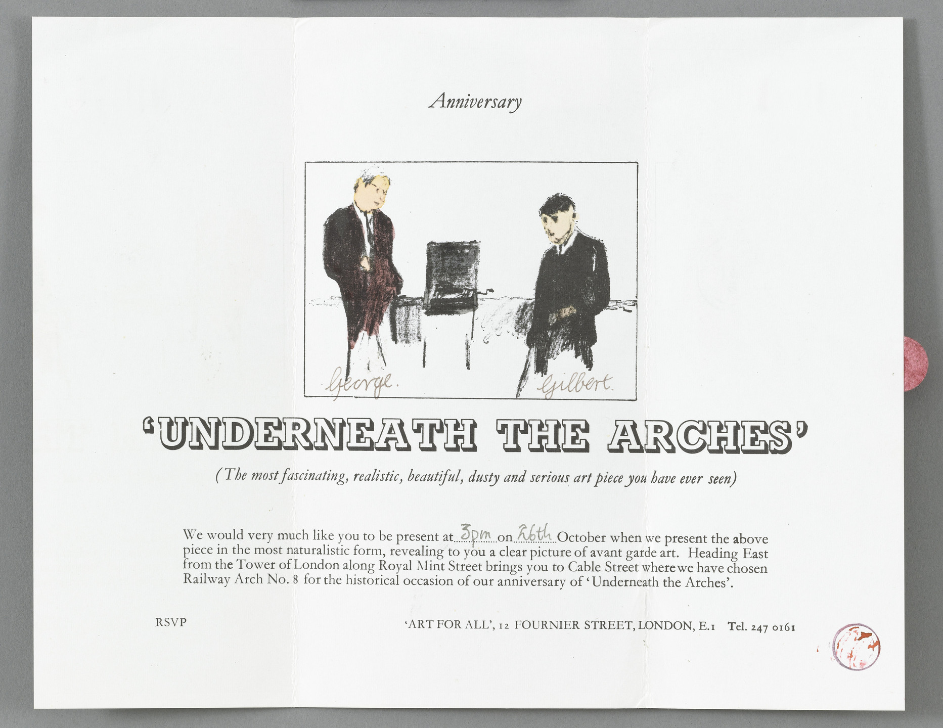 Gilbert & George, Gilbert Proesch, George Passmore. Invitation for anniversary of Underneath the Arches. 1969