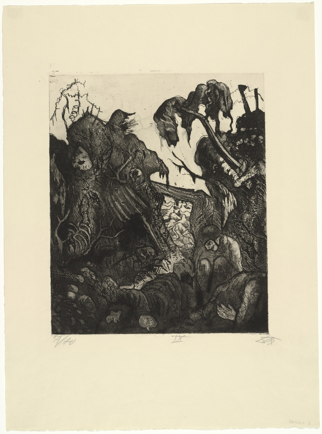 Otto Dix. Disintegrating Trench (Zerfallender Kampfgraben) from The War (Der Krieg). 1924