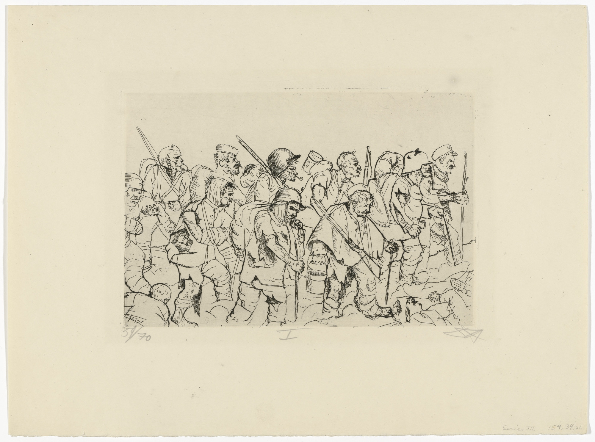 Otto Dix. Battle-Weary Troops Retreat (Battle of the Somme) (Abgekämpfte Truppe geht zurück [Sommeschlacht]) from The War (Der Krieg). 1924