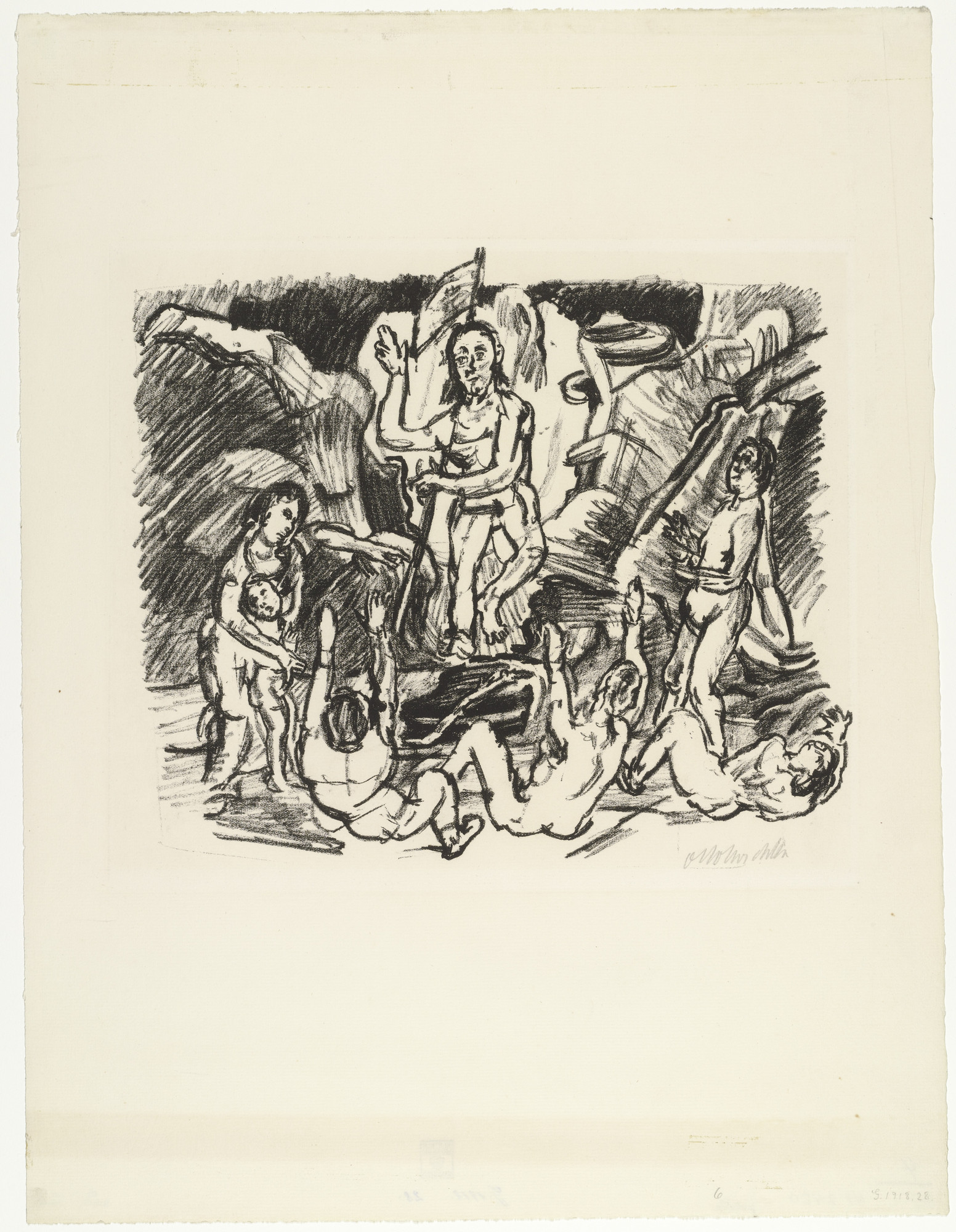 Oskar Kokoschka. The Resurrection (Auferstehung) from the series The Passion (Die Passion). (1916)