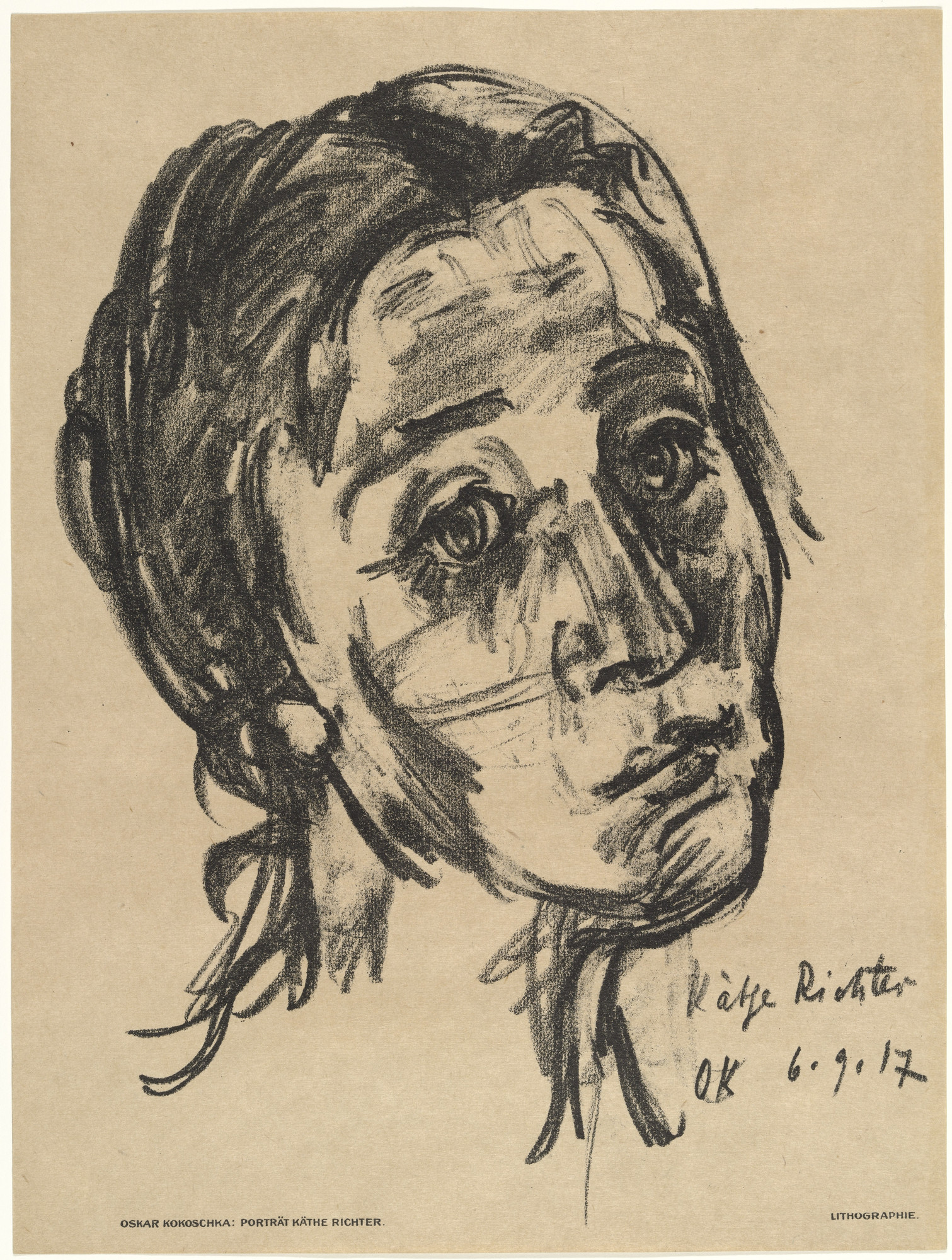 Oskar Kokoschka. Käthe Richter (Head, Slightly Tilted Back) [Käthe Richter (Kopf, leicht zurückgeneigt)] (plate, preceding p. 289) from the periodical Das Kunstblatt, vol. 1, no. 10 (Oct 1917). 1917