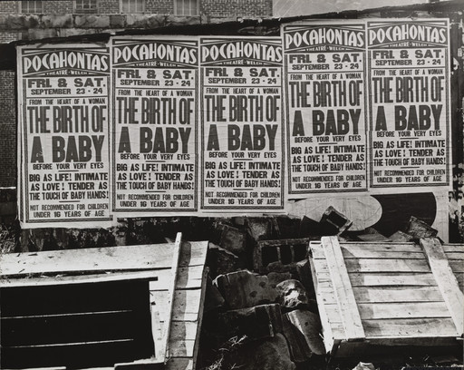 "Marion Post Wolcott. Movie Advertisement on the Side of a Building, ""Birth of a Baby,"" Welch, West Virginia. 1938"