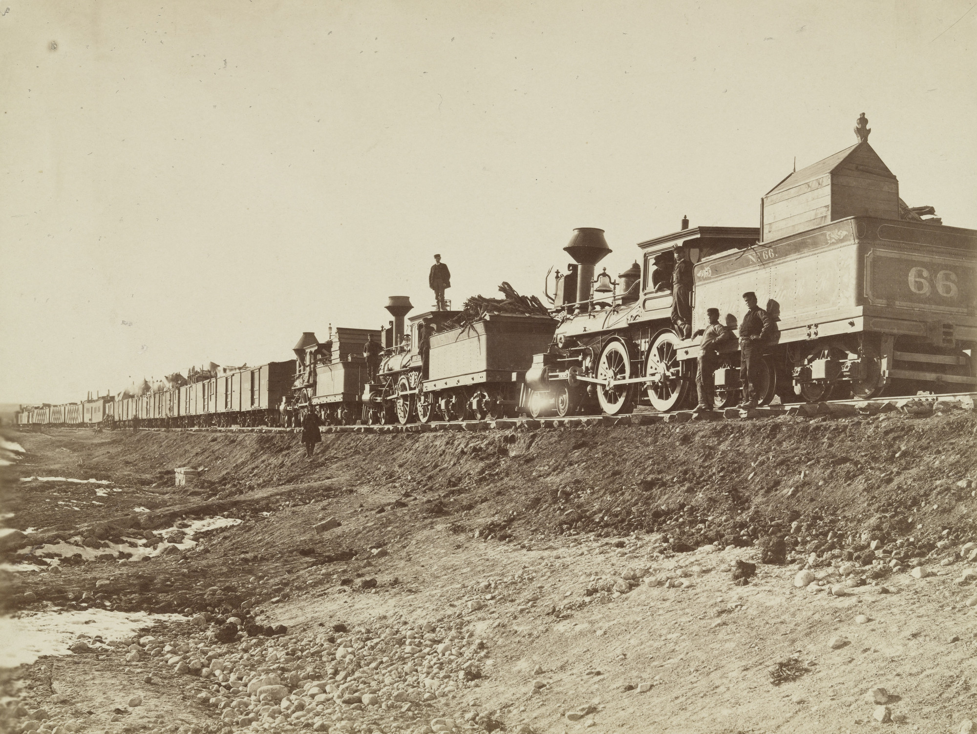 Andrew Joseph Russell. Construction Train, Bear River. 1868