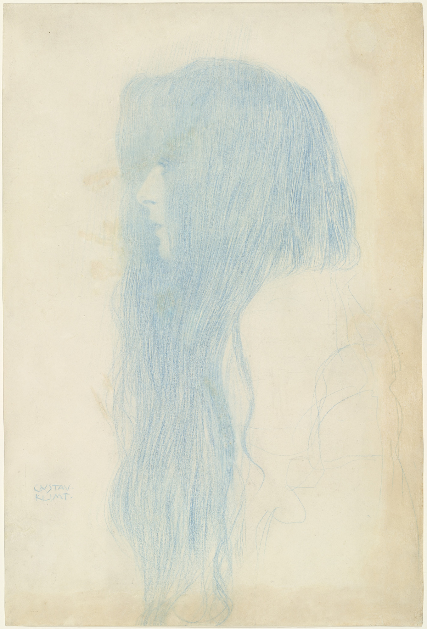 Gustav Klimt. Profile of a Girl (Study for 'Thalia and Melpomene') (Brustbild eines Mädchens mit langem Haar im Profil nach links) Profile of a Girl (Study for 'Thalia and Melpomene'). (1898-99)