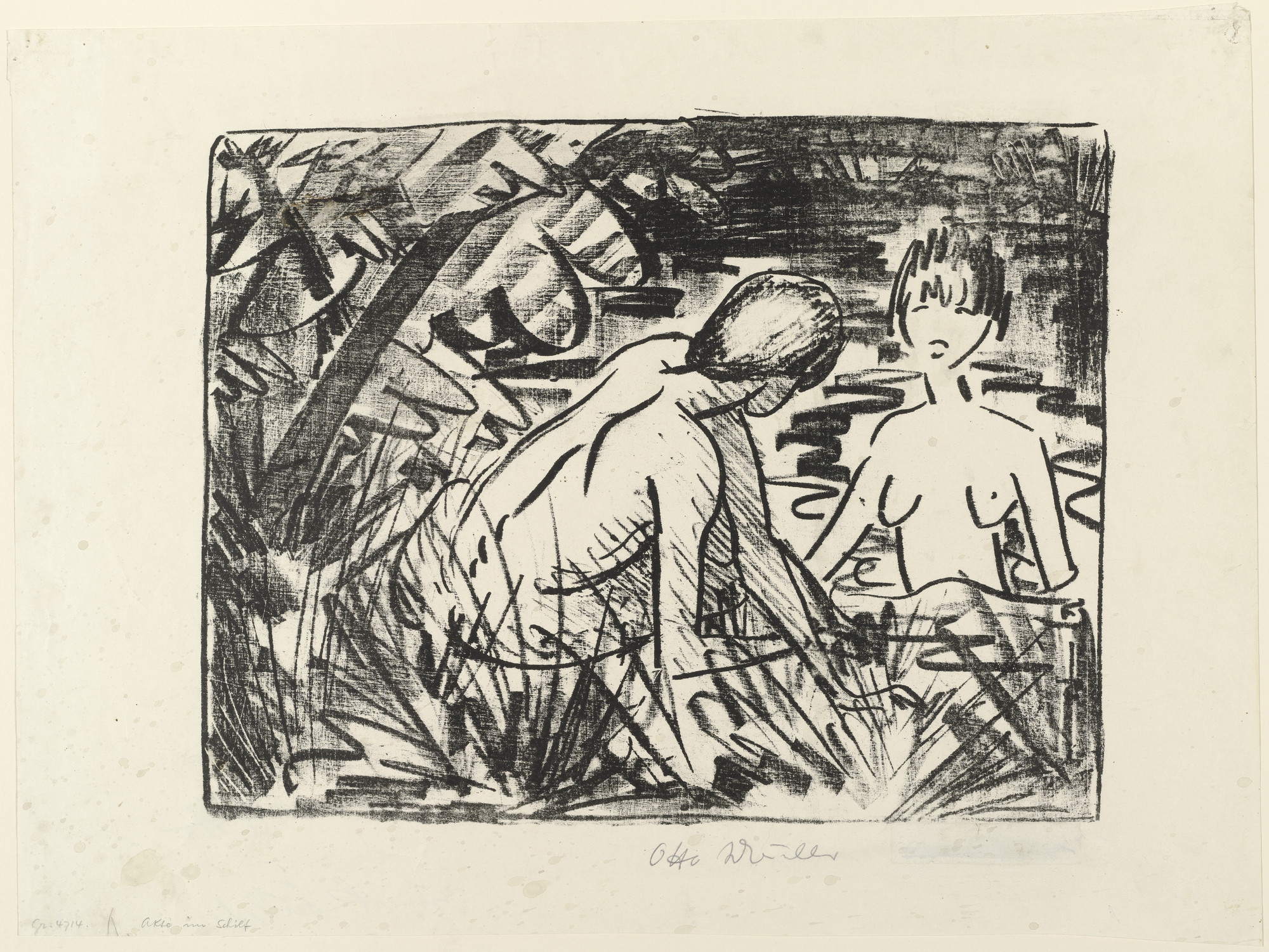 Otto Mueller. One Girl Bathing and the Other Sitting on the Shore (2) [Badendes und am Ufer sitzendes Mädchen (2)]. (c. 1919)