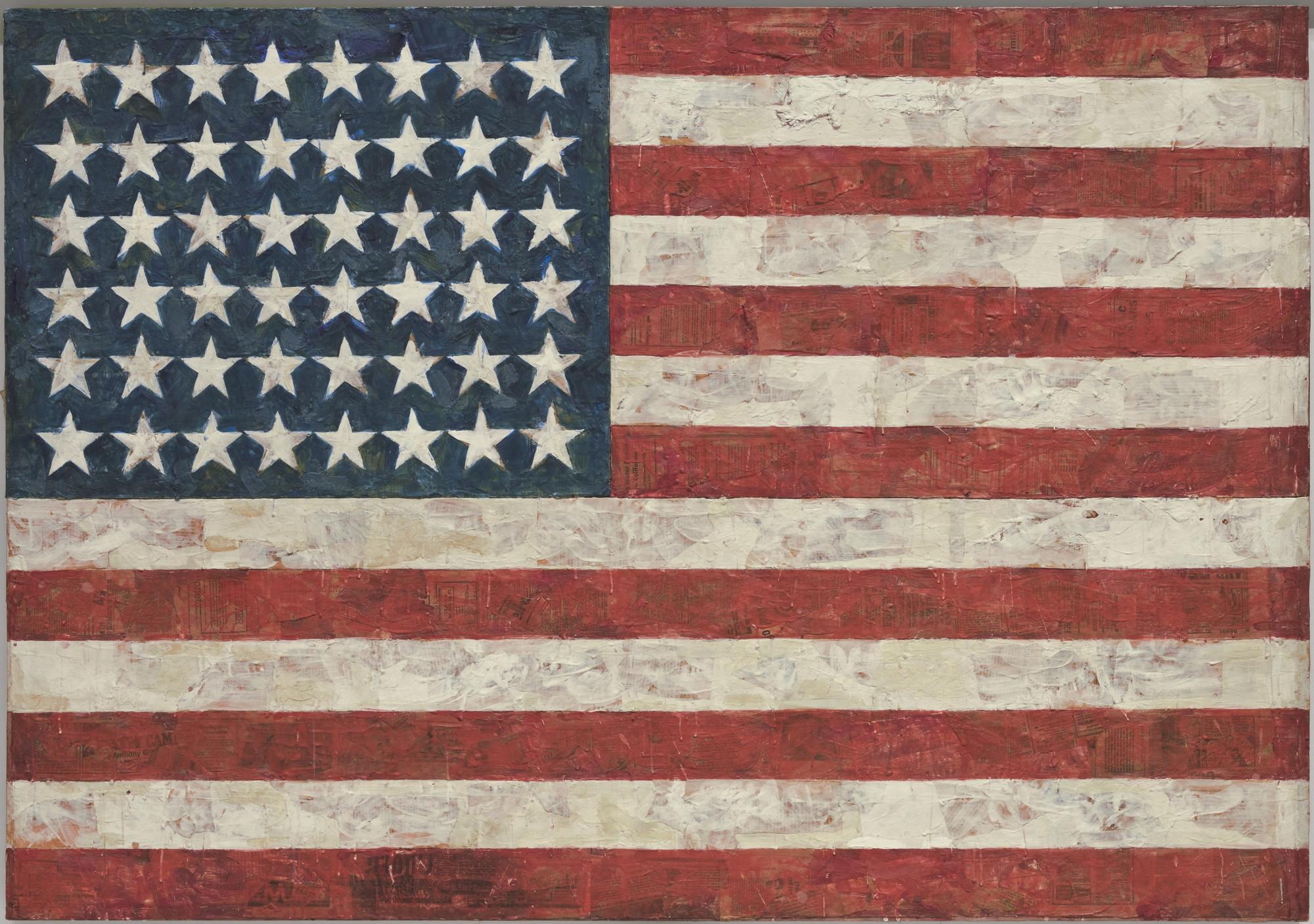 Jasper Johns Flag 1954 55 Dated On Reverse