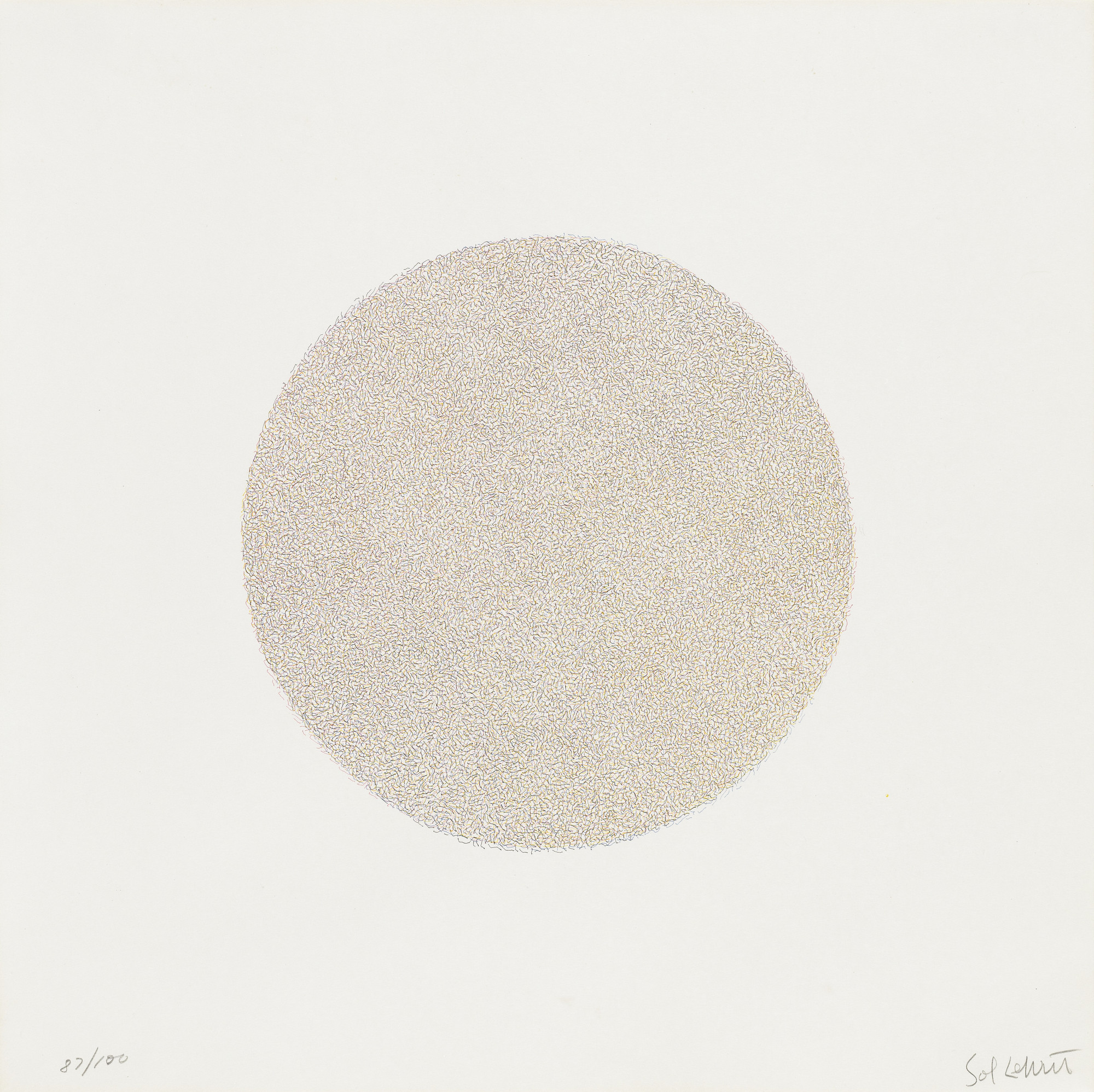 Sol LeWitt. Lines, Not Long, Not Heavy, Not Touching, Drawn at Random (circle) in Four Colors, Printed in Four Directions. 1971