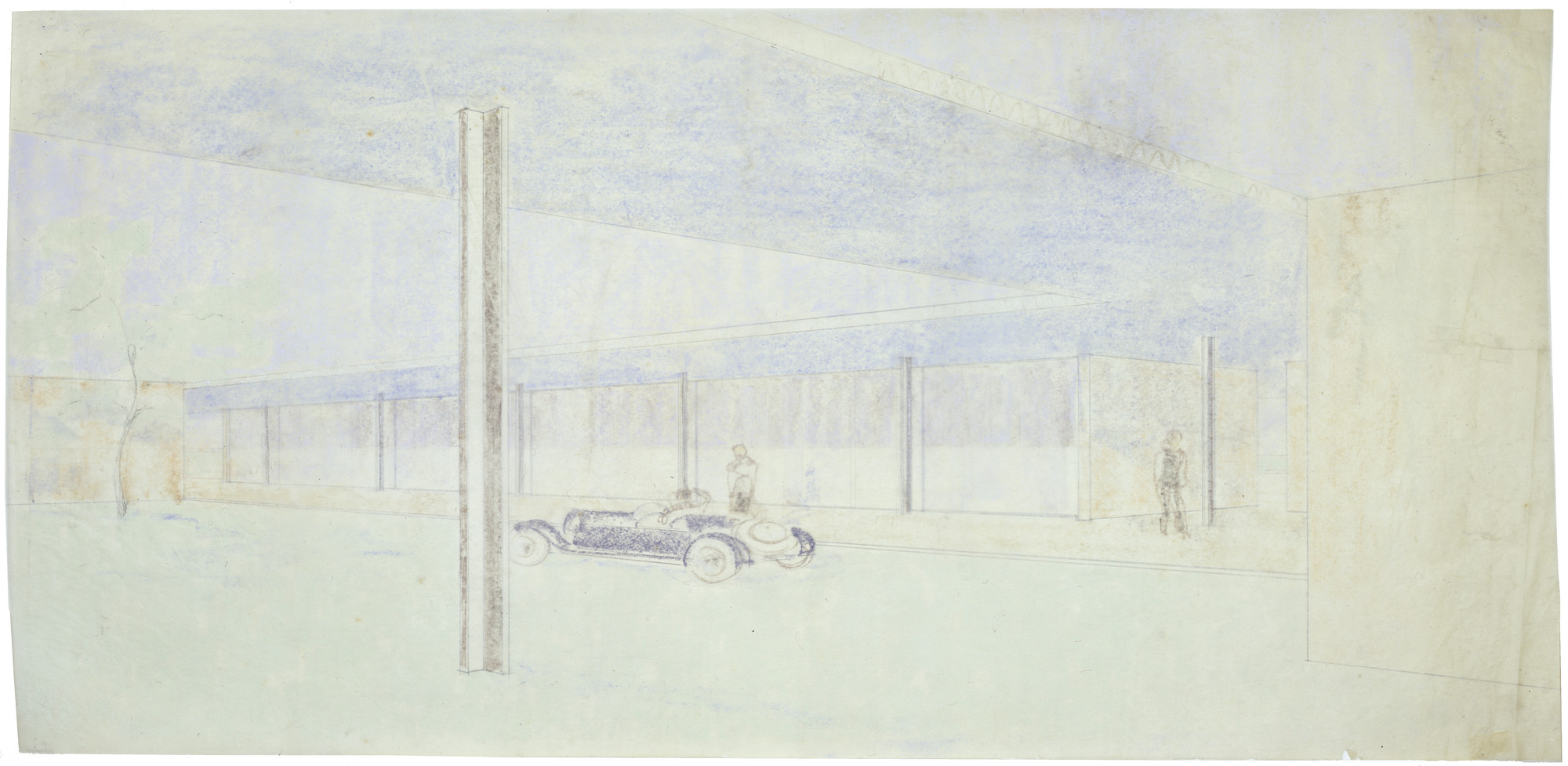 Ludwig Mies van der Rohe. Golf Club Project, Krefeld, Germany, Perspective view from beneath the canopy. 1930