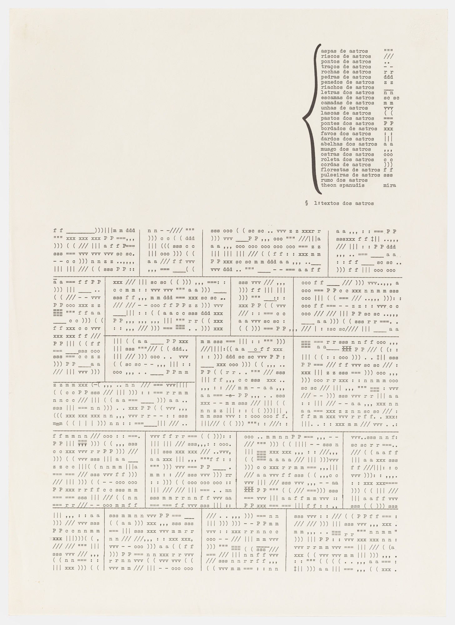 Mira Schendel. Untitled from the series Typed Writings (Datiloscritos). (c. 1970s)