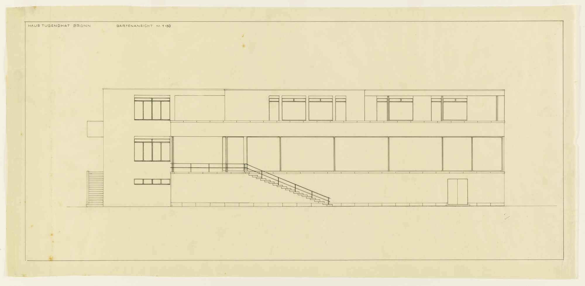 Ludwig Mies van der Rohe. Tugendhat House, Brno, Czech Republic, Elevation. 1928-30