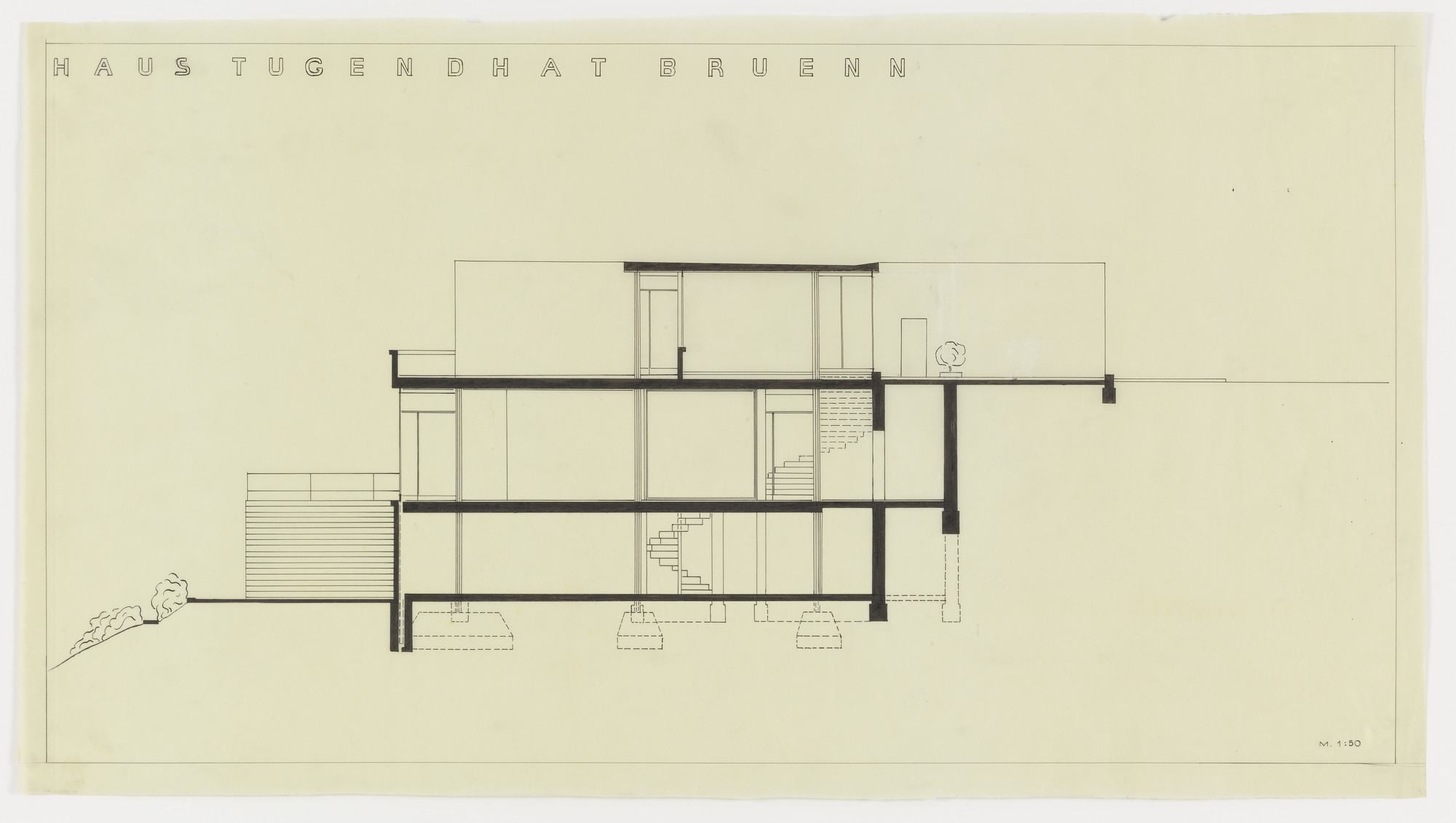 Ludwig Mies van der Rohe. Tugendhat House, Brno, Czech Republic (Section). 1928-1930
