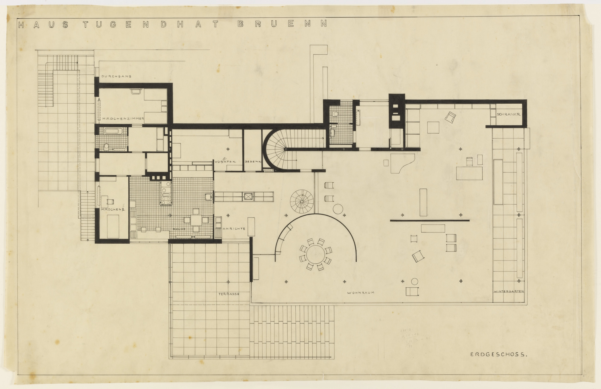 Ludwig Mies van der Rohe. Tugendhat House, Brno, Czech Republic, Ground floor plan. 1928-30