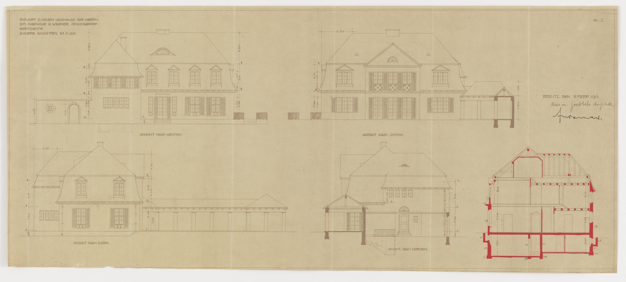 Ludwig Mies van der Rohe. Werner House, Berlin-Zehlendorf,  Germany, Four elevations. 1913