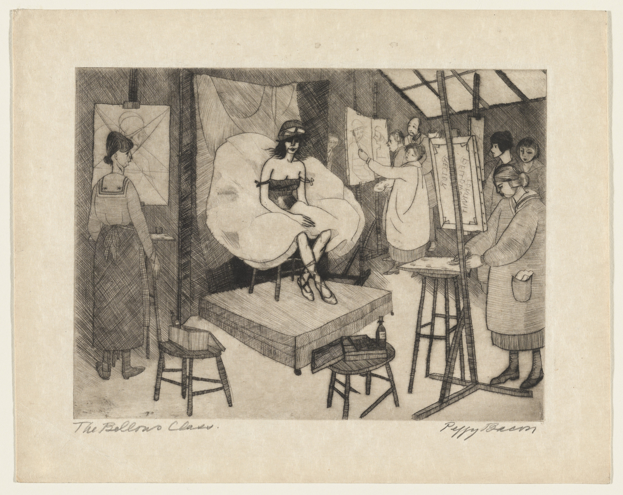 Peggy Bacon. Model in the Bellows Class. 1918